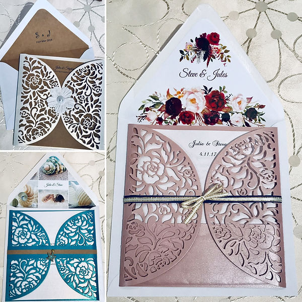Gorgeous Lace Design Gatefold Wedding Invitations - Hand Made By Jules