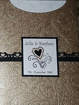 Wedding Invitation - Gold chiffon swirl paper on gold, black trim &  gold heart brad