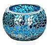Mosiac candle jar - medium size - Aqua Blue Grey