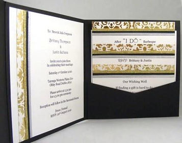 Wedding Invitation – Black pocket display - Lavish gold decorative paper, ribbons & butterfly