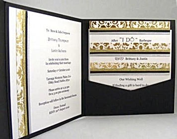 Wedding Invitation – Black pocket display - Lavish gold decorative paper, ribbons & butterfly