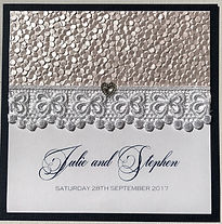 Wedding Invitation – Cream with embossed smoke flower paper