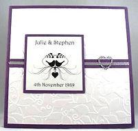 Wedding Invitation - Purple & White Embossed Cover with diamonte heart