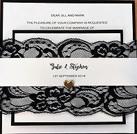 Elegant Wedding Invitation with Black Lace - Hand Made By Jules