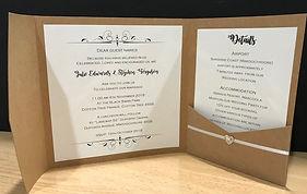 Rustic Kraft Brown Display Pocket Wedding Invitation Hand Made By Jules