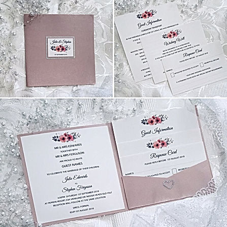 Beautiful Pink Display Pocket with a floral name feature on silver glitter bakcing on the cover, and a White Invitation and Cards featuring a floral image and heart diamante