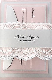 Elegant Wedding Invitation with White Lace - Hand Made By Jules