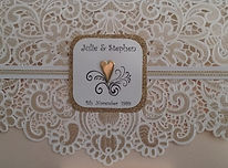 Wedding Invitation Sunshine Coast - Hand Made By Jules – Cream & gold lace design with name and heart feature and gold glitter trim