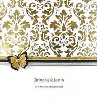 Wedding Invitation - Lavish gold decorative paper, ribbons on black trim & butterfly embellishment - Handmade By Jules