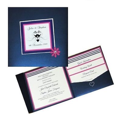 Bold Navy & Hot Pink Display Pockets Wedding Invitations Hand Made By Jules