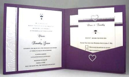 Wedding Invitation – Purple pocket display – white embossed with silver ribbon
