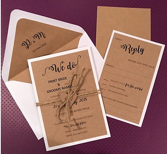 Rustic set of invites with a white backing and jute tied through a little heart  - Hand Made By Jules