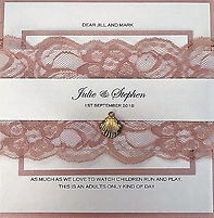 Elegant Wedding Invitation with Soft Pink Lace - Hand Made By Jules