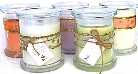 Natural Soy Candles - beautifully fragrant - medium jars with lids