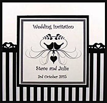 Wedding invitation - Classic black stripe with heart punch border - Handmade By Jules