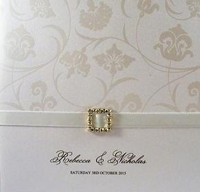 White tango pearl Wedding Invitation