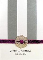 Wedding Invitation - Thick silver stripe, silver & bead embellishment, glitter ribbon