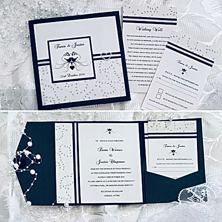 This is a beautiful display pocket in classic black and white - featuring silver leaf chiffon paper, silver ribbon, a printed name feature and a heart diamante on the cover with similar features inside the pocket - Handmade By Jules