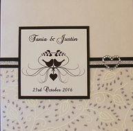 Wedding Invitation - White & silver leaf chiffon paper, silver ribbon on black trim & diamonte heart -  - Handmade By Jules