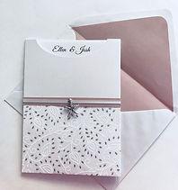 Wedding Invitation – White pocket display with boho design and twine
