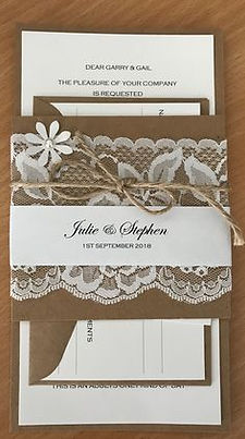 Rustic Wedding Invitation and RSVP featuring plain white with a kraft brown backing and a lace and twine belly band - Handmade By Jules