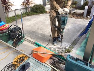 岸和田市でお庭のリフォーム工事着工