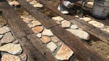 岸和田市のお庭のリフォーム工事中(雑石編)