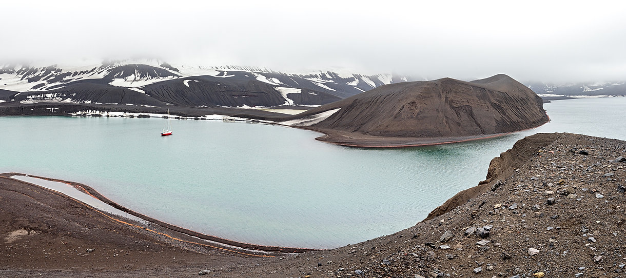 Telefon Bay, Deception Island, Antarctica Panorama