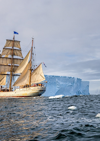 Europa and iceberg panorama
