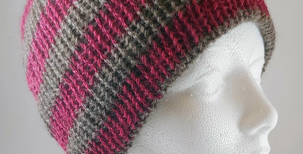 Cochineal & Brown Stripe Hat
