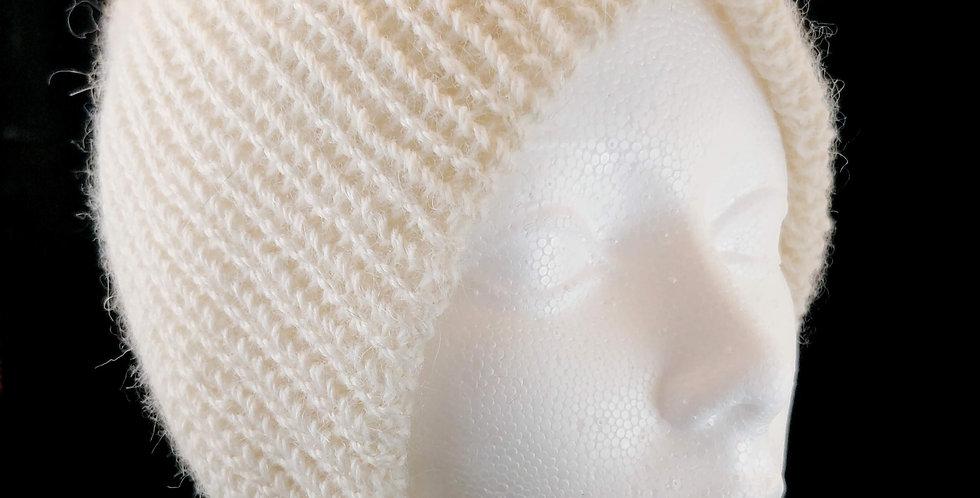 White Reversible 100% Alpaca Beanie Hat