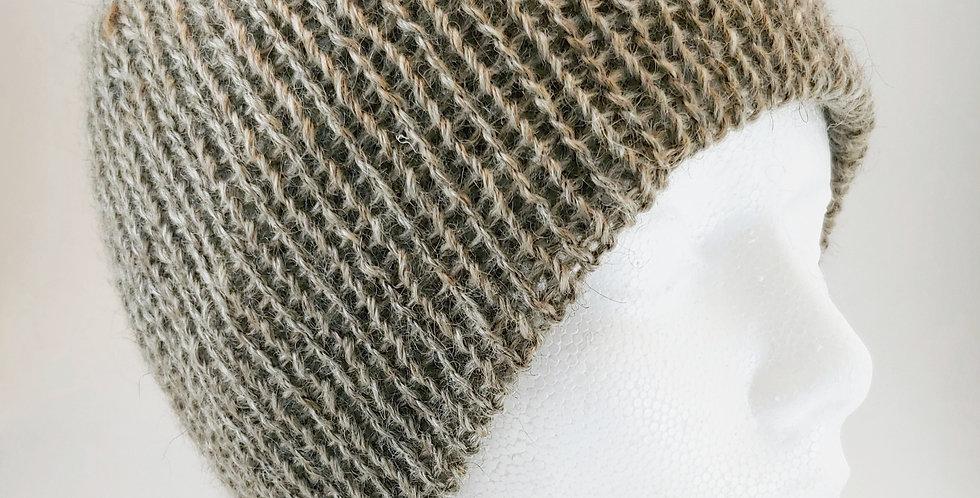 Taupe Mohair/Wool Blend Beanie Hat