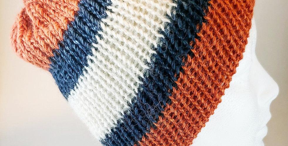 Blue, Orange & White Reversible Hat