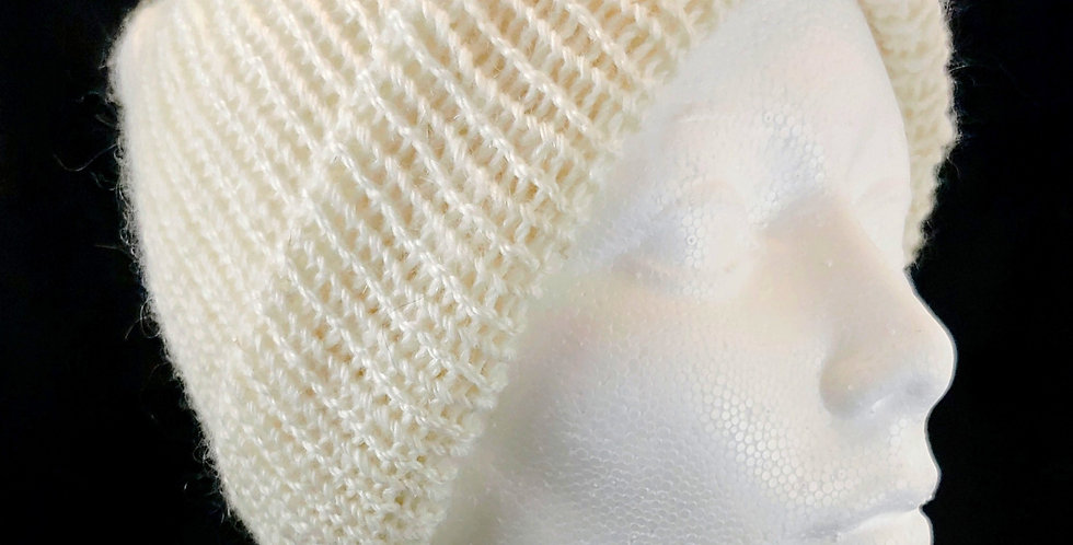 Cream Mohair/Merino Beanie Hat
