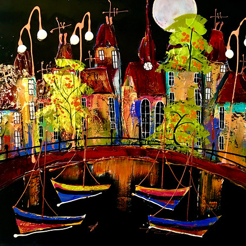 """Rozanne Bell -""""Harbour nights 2 """" Original"""