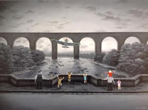 "Leigh Lambert- ""Where Spitfires dare""  -Original oil on board 2013"
