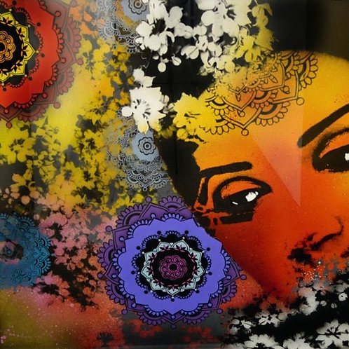 STATIC BROTHERS - Diosa XL - Original Spray can on layered glass.