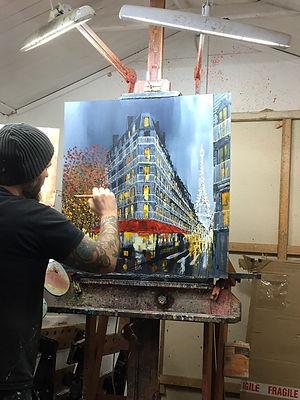 artist newyork skyline paintings paris eifell tower france city london bus phonebox painter abstract