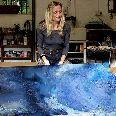 """Behind Wendy's original paintings is a fascinating depth and luminosity. She has long been influenced by the Impressionist artist Claude Monet, whose mesmerising palette conveys strength and softness as one.  Inspiration Her highly textured surfaces are created by layering oil, water-based paint and mixed media while including her signature dots - which represent Wendy and the people around her. The depth of colour, composition and form represent emotions and experiences.  Although abstract, each piece is very considered and the colours and shapes are meticulously planned long before she starts painting. The finishing touch sees the application of a glass-like resin coating, which enhances both the colour and deliberate imperfections of the piece.  Wendy says: """"What I love about creating is that while my work has a clear meaning to me, my viewers and collectors all see something completely different.""""  Be Inspired"""