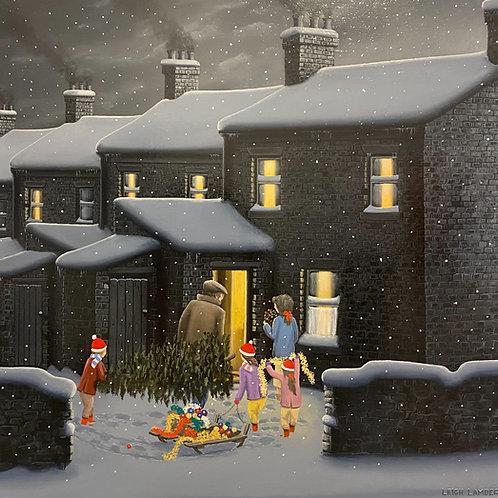 """Leigh Lambert- """"Daddies festive little helpers""""  -Original oil on board"""