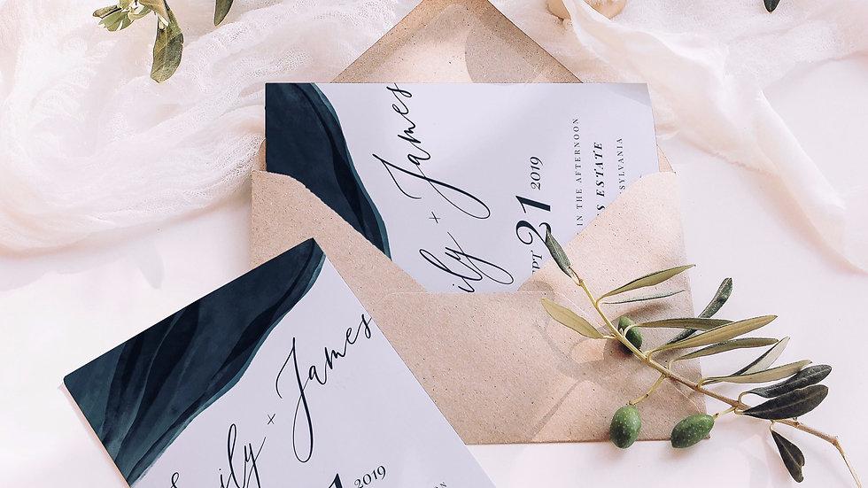 Navy Blue Agate Wedding Invitation