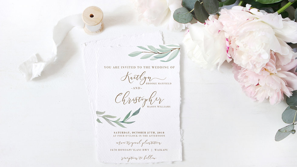 Green Foliage Wedding Invitation