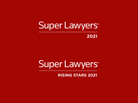 Two Lawyers Selected to Super Lawyers® and Rising Stars for 2021