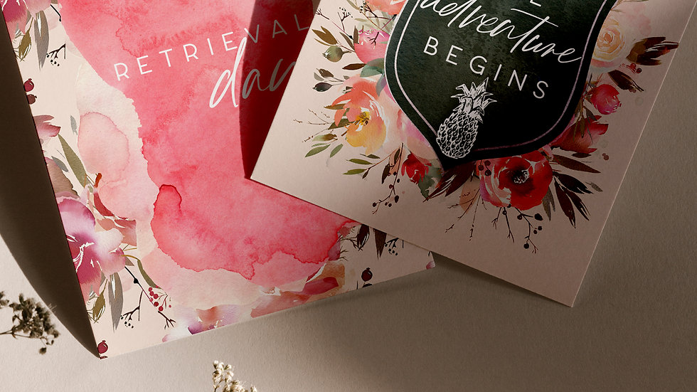 Digital Printable IVF Fertility Milestone Cards | IVF Gift | Floral Milestone