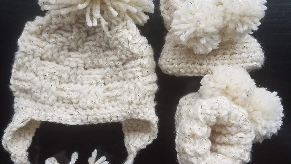 Basket Weave Beanie and Bootie Set