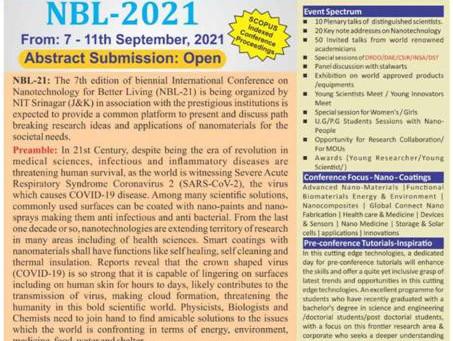 """""""Nano Technology for Better Living"""" NBL -2021"""
