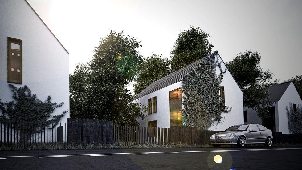 13 domów jednorodzinnych, powierzchnia po 155 m2. Domy zaprojektowane tak, aby każdy miał jak najwięcej prywatnej przestrzeni. Domy odwrócone od strony drogi i zwrócone ku pięknym widokom na tyłach działek.