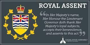British Columbia Bill 8- Royal Assent