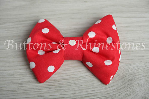 Large Padded red polka dot hair bow barrette