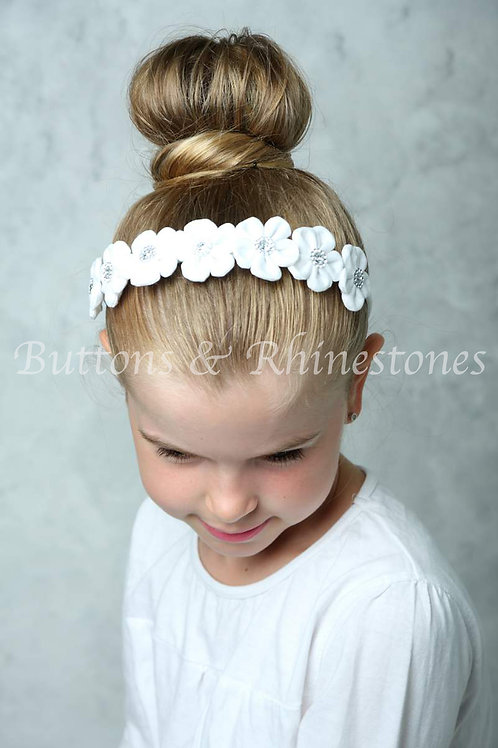 Stunning hair band with small fabric flowers